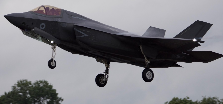 An RAF F35 Lightning II in the UK in 2016.